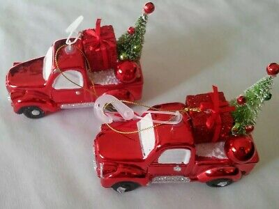 NW 2 TWO HOLIDAY PICKUP FARM RETRO RED TRUCK TREE CHRISTMAS DECOR ORNAMENT  ()
