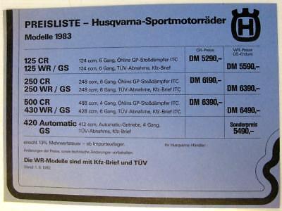 HUSQVARNA 125-500 CR/ WR/ GS 1983 Original Motorcycle Price List German