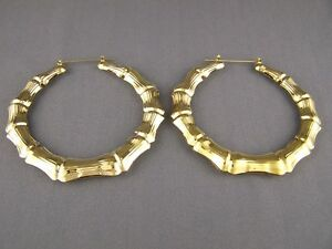 Gold tone BIG huge hoops bamboo earrings 3.25