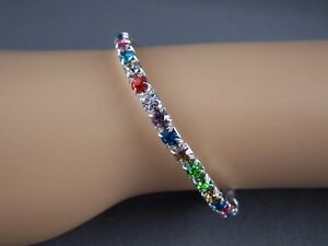 Colorful-plastic-crystals-silver-tone-sparkly-Kids-Girls-stretch-bangle-bracelet