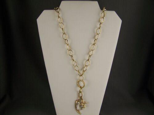 Gold Tone Fleur De Lis Horn Cornicello Clear Crytal Pendant Open Link Necklace