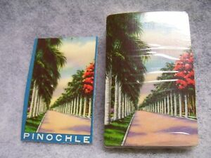VTG-1940s-Playing-Card-Co-Deck-Sealed-w-Revenue-Stamp-Tropical-Scene-Florida