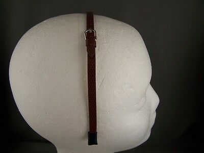 Brown faux leather snake lizard skin thin skinny narrow headband buckle 1/4