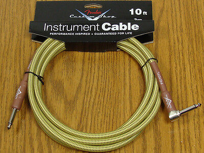 Fender Custom Shop 10' Tweed Angle Cord Cable Guitar & Bass Strat Tele