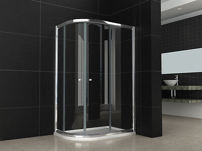 1200x800mm OFFSET QUADRANT BATHROOM SHOWER ENCLOSURE+LEFT HAND TRAY+WASTE