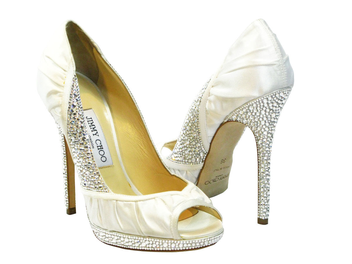 NIB Jimmy Choo Ivory Swarovski Crystal Bridal Wedding Shoes 100 Authentic