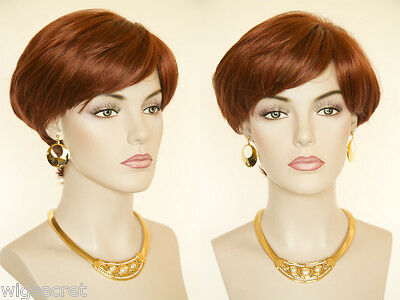 Short, Straight, Chic, Salon Cut Style Blonde Brunette Red Straight Wigs