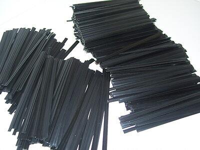 1,000 Plastic Twist Ties Black 8 General Use.