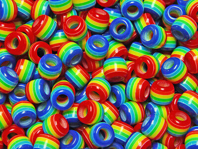 JOLLY STORE Crafts Rainbow of Colors Stripes 11x10mm Pony Hair Fun Beads](Crafting Stores)