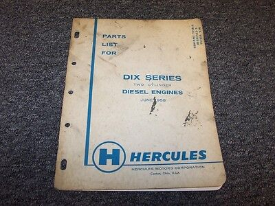 Hercules Dixd Dixb Dix Series 2 Cylinder Diesel Engine Parts Catalog Manual