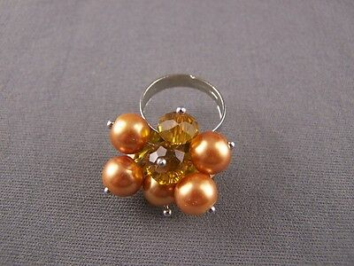 Gold ring faux pearl Dangly bead beaded big cocktail ring adjustable statement