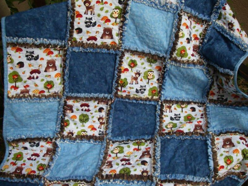 Baby Boy Rag Quilt ~ Woodland Friends ~ Blue and Brown~