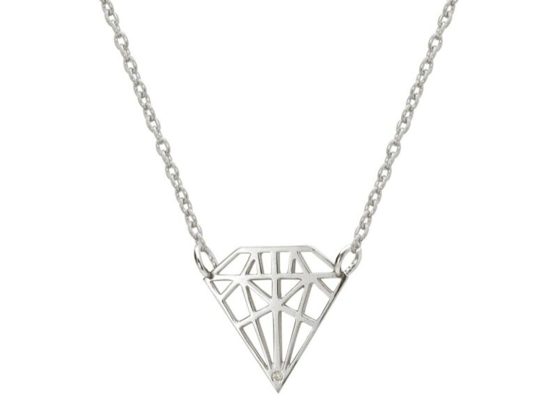 Fronay JE1110 925 Sterling Silver Necklace Diamond Shaped Pendant with Sparkling