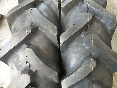 Two 750x16 750-16 Terramite Backhoe Deere Kubota 8 Ply R1 Bar Lug Tractor Tires