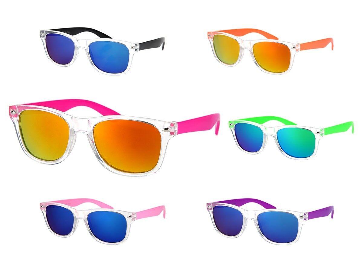 Farbige Retro Kinder Sonnenbrille Atzen Nerd-Brille Viper verspiegelt