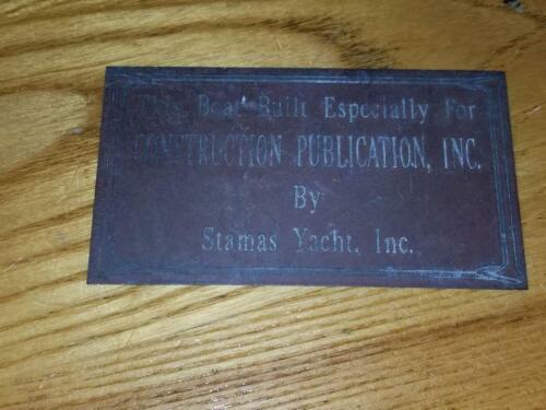 Rare Vintage Brass Bronze Boat Name Plate STAMAS YACHT INC.
