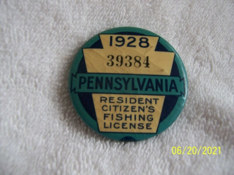 1928 Pa fishing license vintage