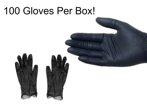100 BLACK VINYL GLOVES, Powder Free and Non-Latex Small, Medium, Large, X-Large
