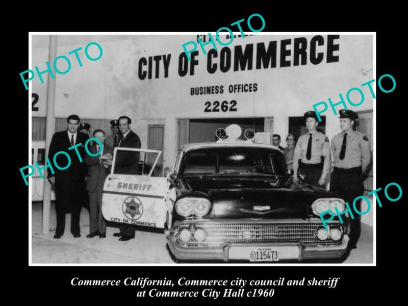 OLD 8x6 HISTORIC PHOTO OF COMMERCE CALIFORNIA THE POLICE & CITY HALL c1960