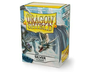 (100) Dragon Shield Classic/GLOSS STANDARD Size Card Sleeves - Silver AT-10008