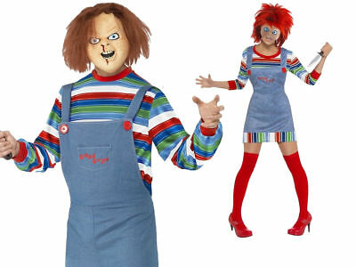 Adults Chucky Costume Childs Play 2 Killer Doll Outfit Halloween Fancy Dress Wig