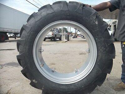 Two 12.4x2812.4-28 8 Ply John Deere 435 Tractor Tires On 6 Loop Wheels