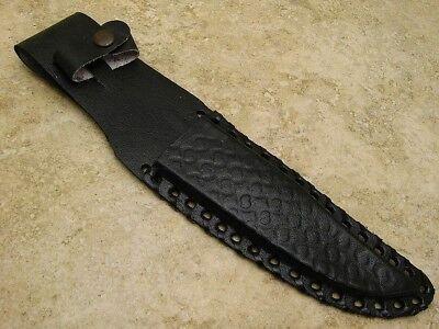 Fixed Blade Knife Sheath Economy Quality Black Basket Weave Leather