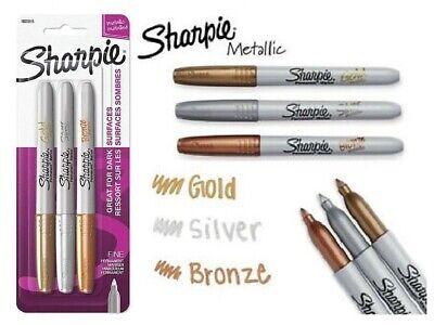 Sharpie Metallic Permanent Fine Point Markers 3pc Gold Silver Bronze Assortment