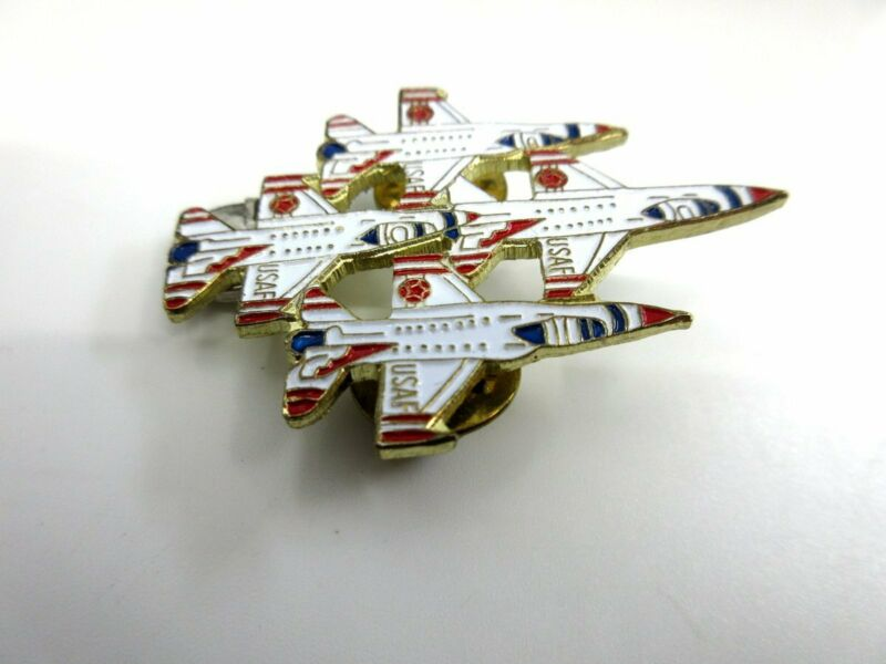 USAF Thunderbirds Jet Fighter Airplanes Diamond Formation Metal Lapel Hat Pin