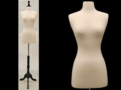 Female Mannequin Dress Form+Black Wood Base Size 6-8 JF-FWP-W + BS-02BKX