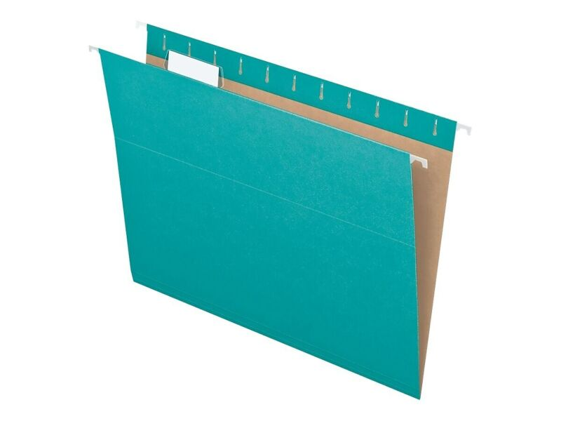 Pendaflex Recycled Hanging File Folders Letter Size Aqua 25/Box (PFX 81616)