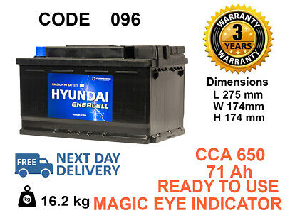 096 type Genuine OEM HEAVY DUTY Car Battery 71ah FITS ALL MAKES (BMW.BENZ.AUDI)