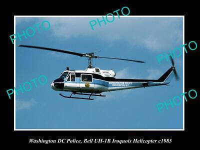 OLD 8x6 HISTORIC PHOTO OF WASHINGTON DC POLICE BELL IROQUIOS HELICOPTER c1985