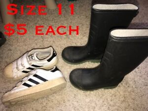 Rain boots and adidas size 11