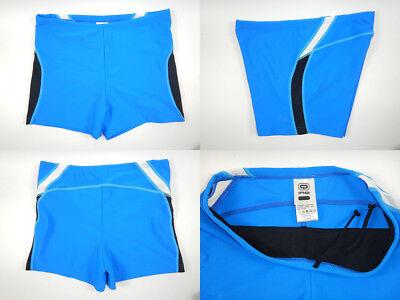 Square Leg Bathing Suit (Men Swim Boxer Brief Swimsuit Swimwear Bathing Suit Square Leg Cut Blue M L)