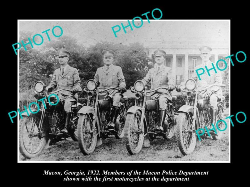 OLD 8x6 HISTORIC PHOTO OF MACON GEORGIA THE POLICE MOTORCYCLE UNIT c1922