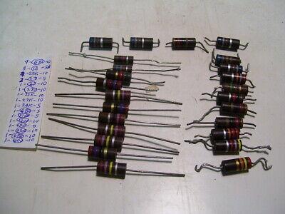 25pcs 7 New18 Used 2w Mixed Lot 5  10 Carbon Resistors P3780
