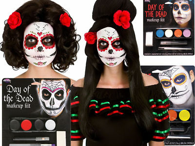 Day Of The Dead Halloween Make Up Kit Fancy Dress Adult Wig Sugar Skull