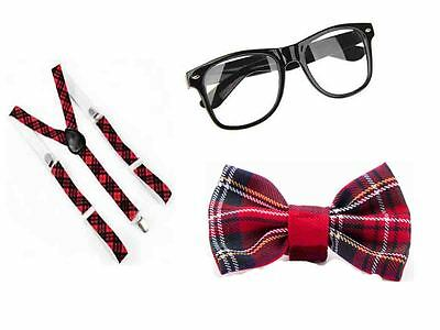 RED TARTAN NERD GEEK GLASSES BOW SQUAD SCHOOL GIRL 3 PCS SET FANCY DRESS COSTUME