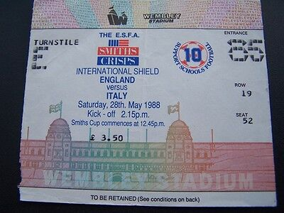 Ticket - England v Italy 28.05.88 Schools International Shield Smiths Crisps spo