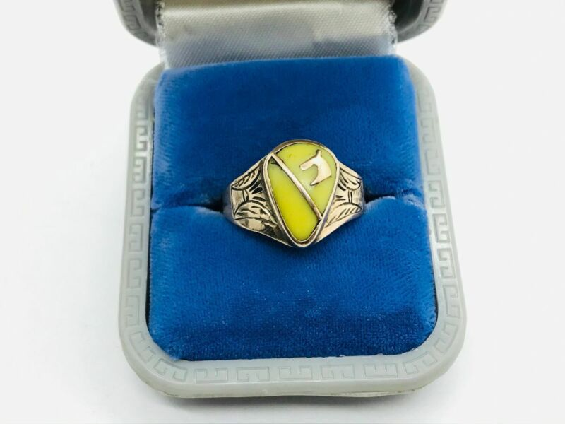 Victorian 10K Rose Gold Yellow Agate Horse Head Equestrian Ring
