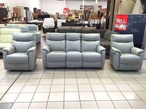 100% LEATHER SHANTON 3 SEATER RECLINER + 2 SINGLE RECLINERS Logan Central Logan Area Preview