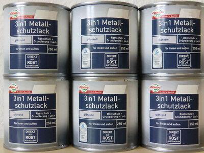 Genius Pro 3in1 Metallschutz glänzend 250 ml Lack Rostschutz ver. Farben E/8/3 - 8 Ml Farbe Glänzend