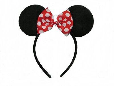 Haarreifen mit Schleife Maus Ohren Fasching Karneval Fest Kostüm Mäuseohren