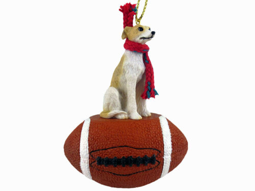 Whippet Dog Tan White Football Sports Figurine Ornament