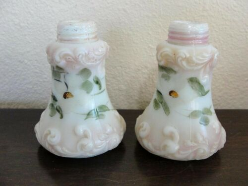Pair of Antique Fostoria Glass Co. Art Glass Salt Shakers Knobby
