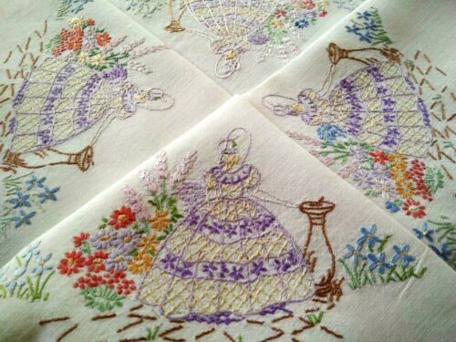 Sweet Purple Crinoline Lady & Gardens  Vintage Hand Embroidered Tablecloth
