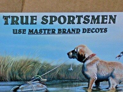Decoys MASTER BRAND - Shows a Dog and Several Ducks - COLORFUL Metal Sign -> WOW