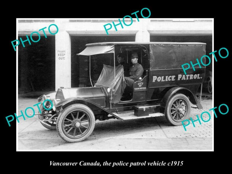 OLD POSTCARD SIZE PHOTO OF VANCOUVER CANADA THE POLICE PATROL CAR c1915