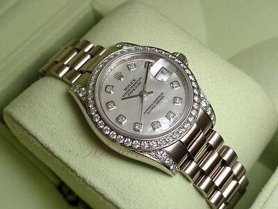 Rolex President Datejust Crown Collection Ladies 18kt White Gold Diamond 179159